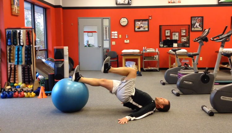 Single-leg stability ball bridge